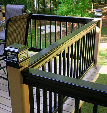 Deck Railing - Aluminum -Google Image Result for http://www.backyard-design-ideas.com/images/aluminum-railing-black-and-tan-with-post-cap-light.jpg