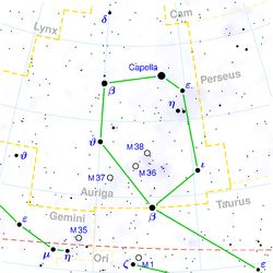 Capella is known to be the sixth brightest star in our sky, and beams a glorious golden color.