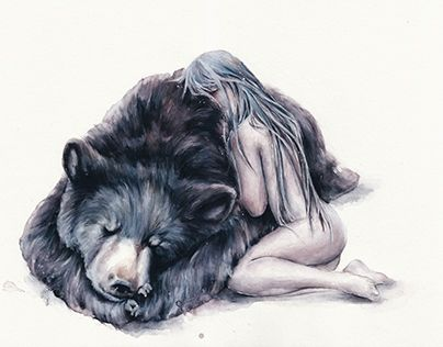 """Waiting for Spring""   #bearhugs #original #watercolor #girl #bear #art #painting #drawing #oksanadimitrenko Instagram: oksanadimitrenko  Originals:https://www.etsy.com/ru/shop/oksanadimitrenko   Behance: https://www.behance.net/oksanadimitrenko  Prints: https://society6.com/oksanadimitrenko"