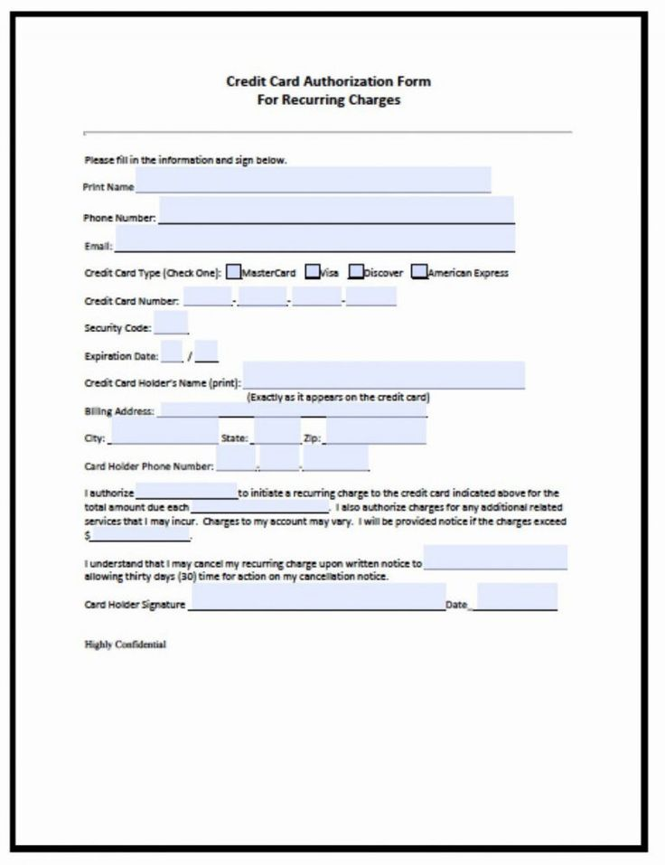 credit card authorization form template microsoft word