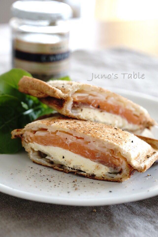 Hot sandwich ホットサンドNo.12 サーモンとクリームチーズ