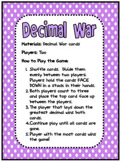 FREE Decimal War Card Game...I would have to tweak this a little, since in 5th grade we study decimals to the millionth place value.