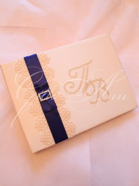 Свадебный альбом для пожеланий Gilliann Magic с инициалами из страз Сваровски AST040 #guestbook #wedding guestbook