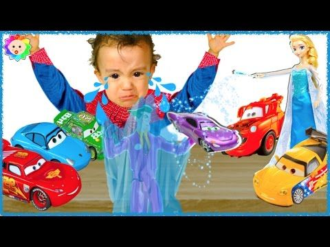 Spider Baby crying and learn colors w/ ELSA Frozen & Disney CARS vs BAD ...