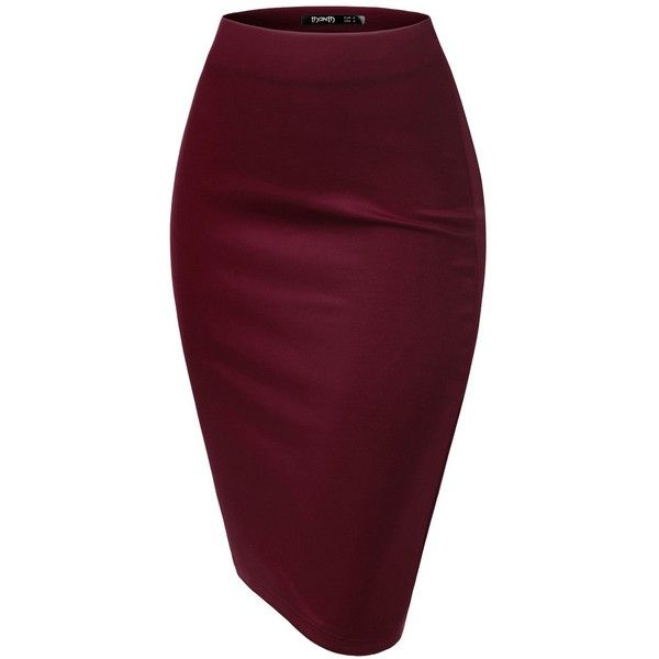 TWINTH Pencil Skirts Plus Size Casual Skirt Elastic Waist Band Scuba... ($7.99) ❤ liked on Polyvore featuring skirts, plus size pencil skirt, elastic waistband skirt, wide skirt, purple skirt and elastic waist skirt