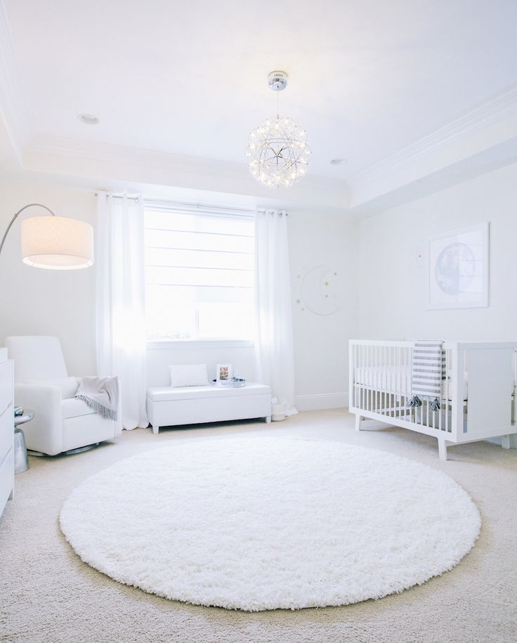Little Crown Interiors All White Celestial Nursery Little Crown Interiors White Rug Nursery White Nursery Baby Room Rugs