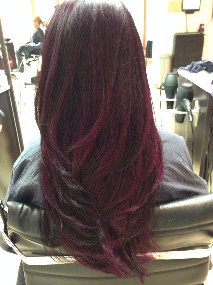 Dark with red wine ombre with tint of purple
