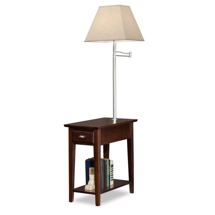 Chocolate chairside swing arm lamp table with linen shade