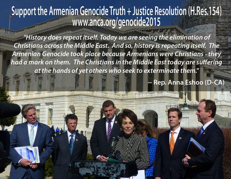 Armenian American U.S. House Member Anna Eshoo (D-Calif.) offers poignant remarks in support of the Armenian Genocide Truth and Justice Resolution (H.Res.154) on March 18