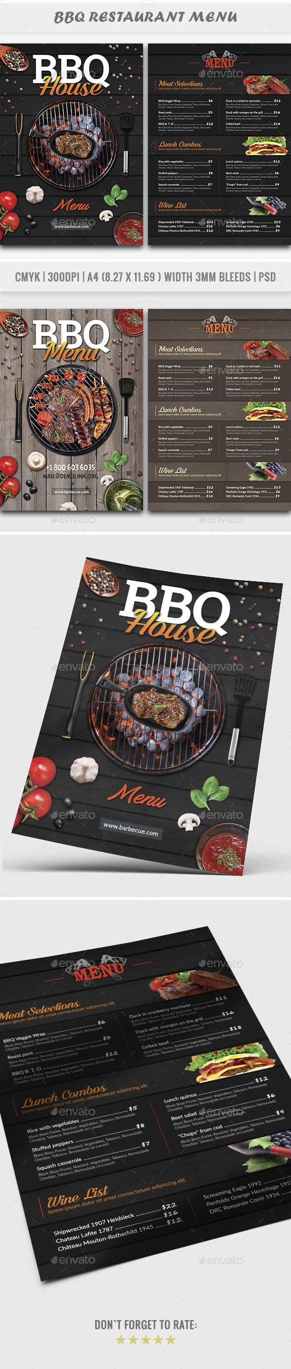 BBQ House Menu Flyer - Restaurant Flyers