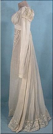 c. 1805-1810 Embroidered Empire Muslin Gown - Click image to find more History Pinterest pins