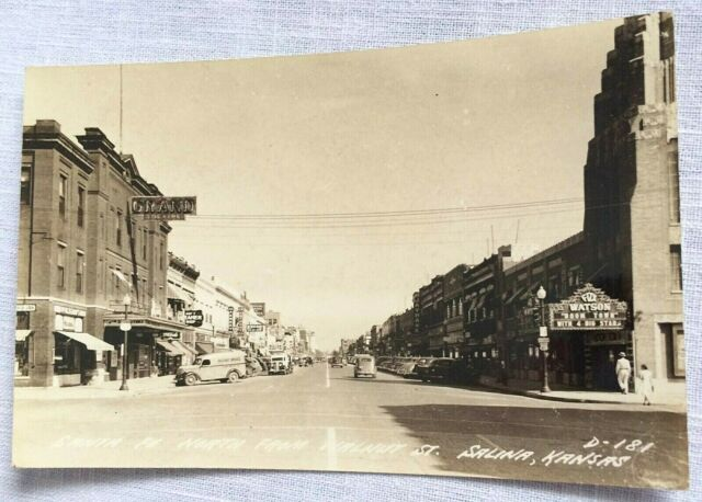 Salina Ks Real Photo Postcard North On Santa Fe From Iron Street Ekc 1945 1950 Summer Beach Pictures Photo Postcards Beach Pictures
