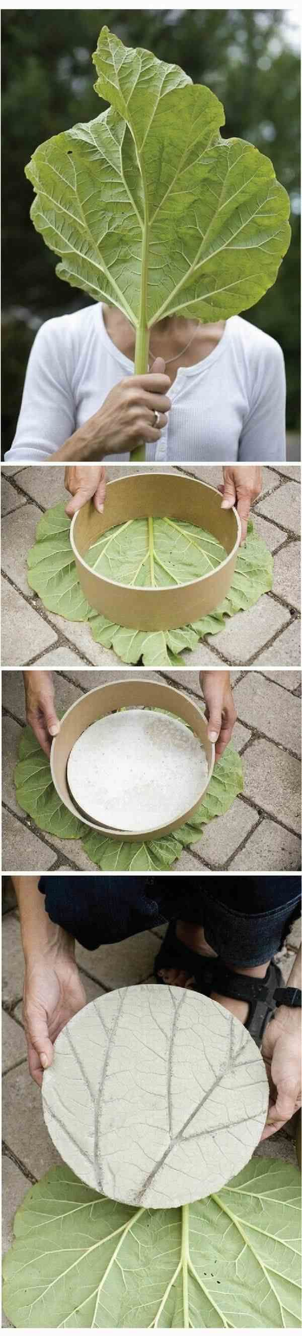 DIY ideas tutorials stepping stones leaf concrete