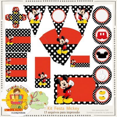 Kit Festa Mickey by Lu Ifanger e Cris Oliveira - R$7,50 : Boutique do Scrap