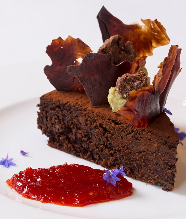 Fancy trying out this unsual combination? Francesco Mazzei's rich and fudgy chocolate cake shows just how well smoky aubergine can work in a dessert.