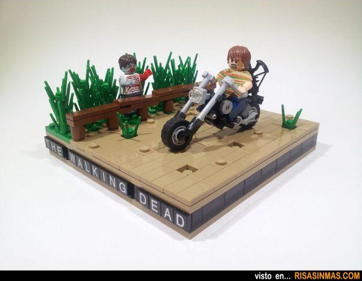 Daryl Dixon en su moto en The Walking Dead hecho con LEGO.