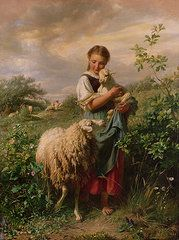 The Shepherdess  by Johann Baptist Hofner--Chapter 37 of Deja Who? features a reproduction of this painting.