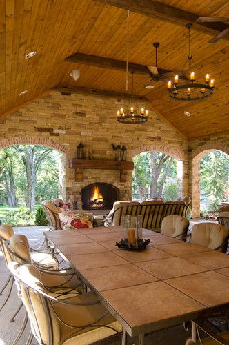 Best 25 outdoor eating areas ideas on pinterest grey Hill country style homes