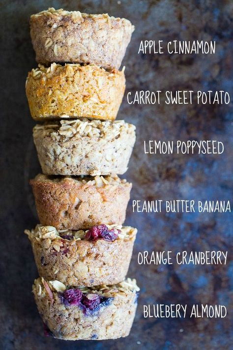 Healthy Baked Oatmeal Cups 6 Ways - These are great to make ahead of stash in your fridge or freezer so you always have a healthy and filling breakfast on hand! Freezer friendly, make ahead, vegan, gluten free, refined sugar free.