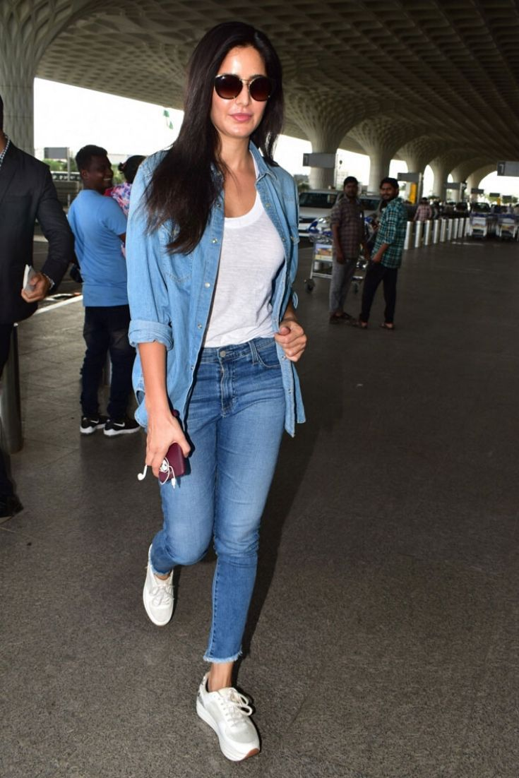 Katrina Kaif Sporting An All-Denim Look At The Mumbai Airport   Casual  college outfits, Bollywood outfits, Celebrity casual outfits