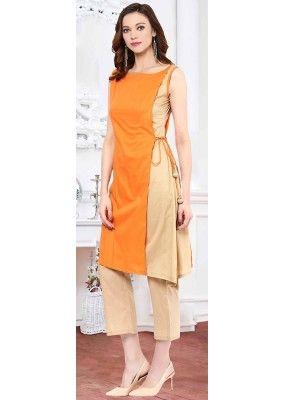Fancy Readymade Orange Cotton Kurti - 72218