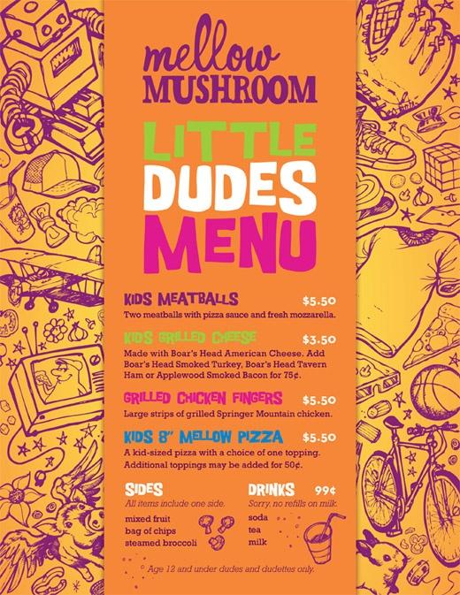 new mellow mushroom kids menu    jacksonville locations