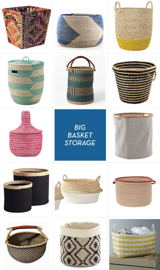 BIG STORAGE BASKETS, maybe good for toy storage in living room instead of big, ugly plastic thing
