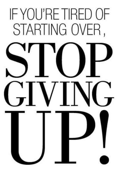 Stop Giving Up :) Want to see how well you are doing with your nutritional habits? Get your FREE No Obligation Wellness Evaluation TODAY! www.WellnessScore.co.uk