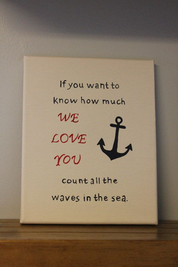 Nautical nursery wall decor how much I love by JessieAnnCreations, $20.00