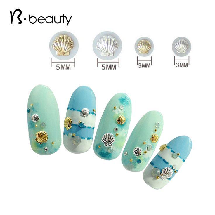 50 pcs/pack Campuran 3mm 5mm 3d Emas Perak Shell Desain Nail Art DIY Charm Logam Studs Nail Art dekorasi