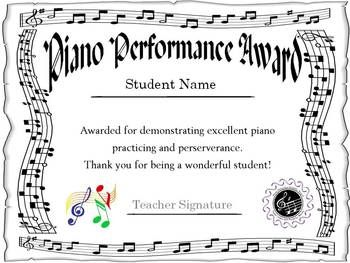 11 best recital certificates images on pinterest piano lessons piano award certificate yadclub Choice Image