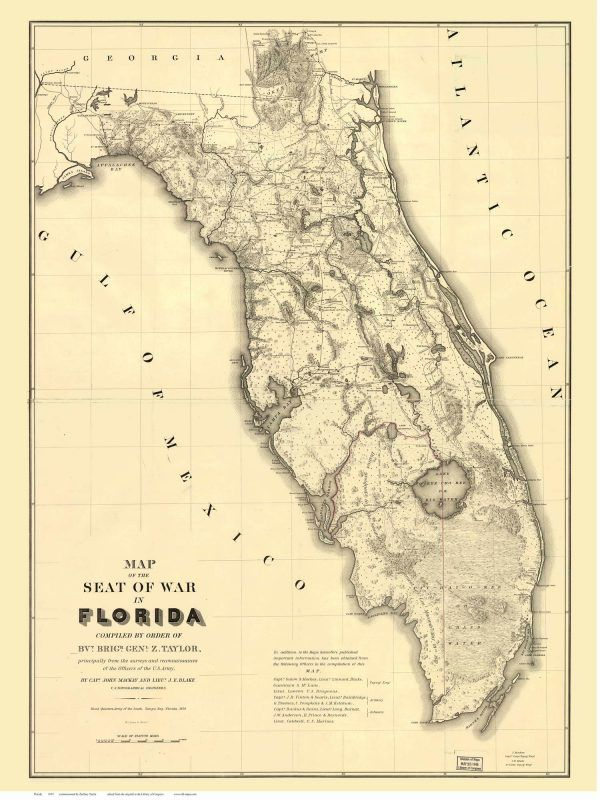 Old Florida Maps.Zachary Taylor S Florida Map 1839 Seat Of War Old Maps Blog