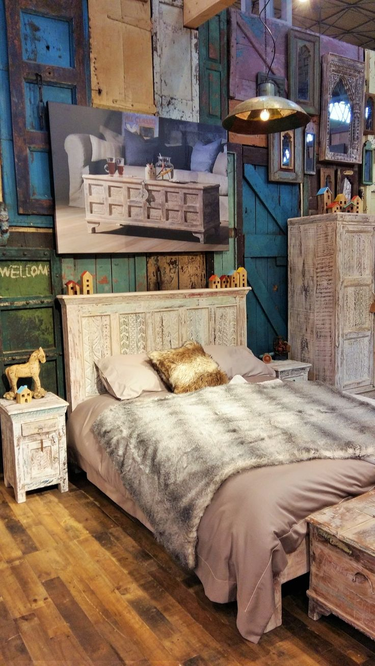 Little Tree Furniture- Display from the NEC Furniture Show in Birmingham.  #reclaimedfurniture #bedroom #rustic #littletreefurniture