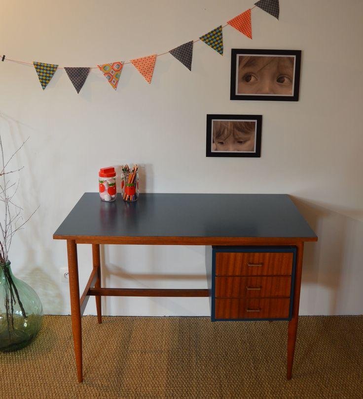 Bureau vintage z phir dimensions longueur 106cm for Dimension meuble bureau