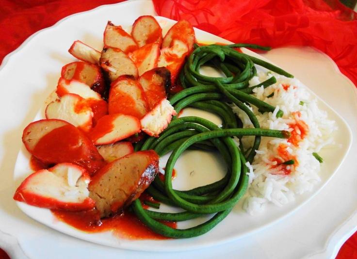 Kousenband Alesie (kousenband met rijst, Fa Chong worst en gegrilde varkensvlees)