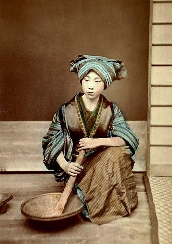 """Geisha (or older Maiko) posing for a """"domestic scene"""", 1880s by a relatively obscure but active photographer named Yamamoto."""