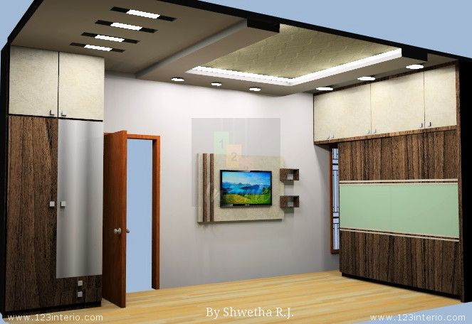 Master bedroom tv unit and false ceiling ceiling ideas for Bedroom designs with tv unit