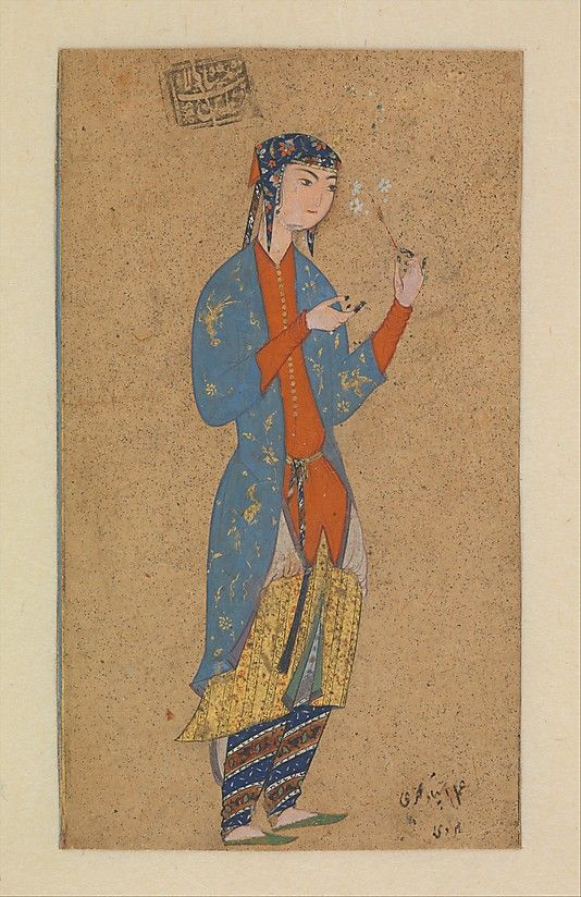 This charming portrait of a young woman holding daisies is by the well-known sixteenth-century Persian painter Muhammadi of Herat. It exhibits the hallmarks of his elegant style, seen especially in the delicate rendering of the facial features and the detailed attention to the woman's garb. The page bears the stamp of the Safavid ruler Shah 'Abbas I (r. 1587–1629), indicating that it belonged to his collection.