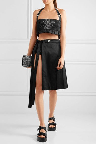 Miu Miu - Cropped Embroidered Smocked Cotton Top - Black - IT44