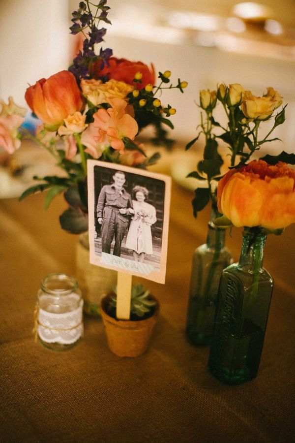 like this idea of photos in plants wedding flowers in bottles http://www.mikiphotography.info/