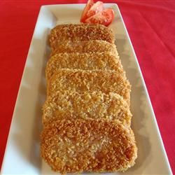 Breaded SPAM Steaks -  All you need is two eggs and a few non-perishable ingredients including vegetable/canola oil, one (12 oz.) can canned luncheon meat (SPAM), all purpose flour and seasoned bread crumbs.