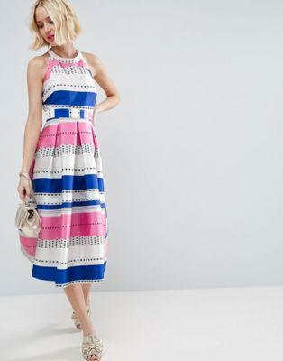 ASOS Spot Pinny Jacquard Prom Dress