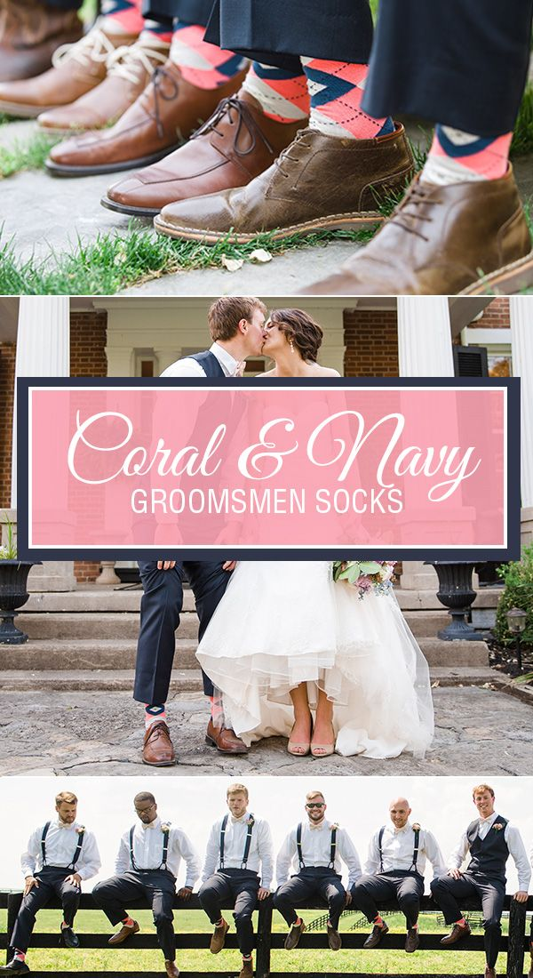 Summer weddings are upon us, and once again, coral is the trendiest color of the year for wedding socks. With an accent of navy and burlap woven into the coral argyle pattern, these Statement socks are the hottest groomsmen socks on the market. Dress your bridal party in a pair of socks that will match coral bridesmaid dresses perfectly and go well with your navy and coral theme.  Photography provided by http://leahbarryphotography.com/