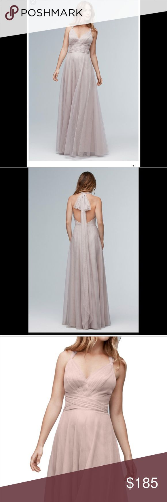 """Watters & Watters latte bridesmaid dress💍 This dress is AMAZING! Only worn once, excellent condition. Back can be tied in any way to change up the look and perfect for any formal occasion. I'm 5'5 and this dress was hemmed a half inch and was the perfect length and just skimmed the floor with 4"""" heels. Must have!! Watters & Watters Dresses Wedding"""
