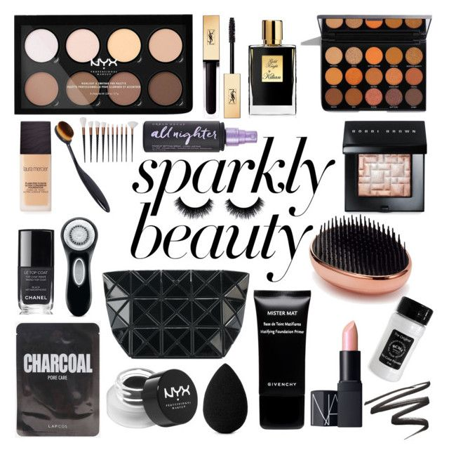 """""""#PolyPresents: Sparkly Beauty"""" by marinafmorgan ❤ liked on Polyvore featuring beauty, NYX, Yves Saint Laurent, Kilian, Chanel, Clarisonic, beautyblender, Bao Bao by Issey Miyake, Laura Mercier and Urban Decay"""