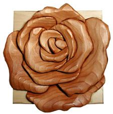 Rose Intarsia Wood Kit (Woodworking Kit)