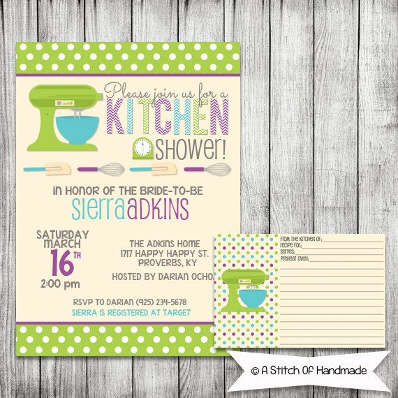 Kitchen Bridal Shower Invitation Printable File 5 X 7 And Matching Recipe Card Bridal Shower