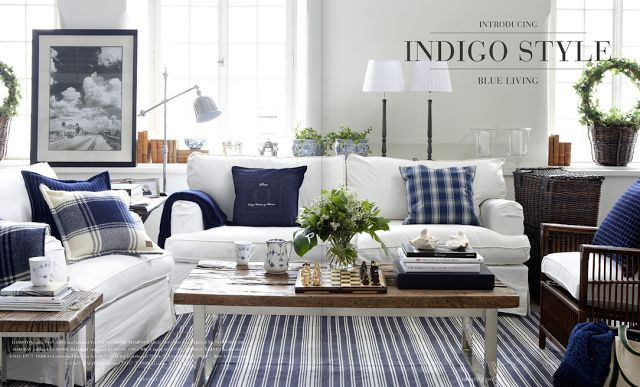 Blue And White Living Room With Plaid And Ticking Stripes Decorating Rustic Blue White