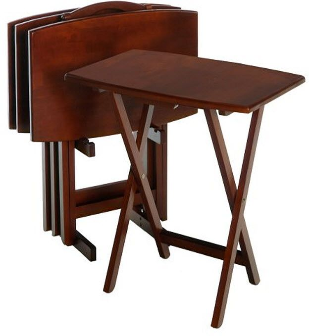 TV Trays Lap Dinner Tray Set With Stand Walnut Wood Finish Folding Tables
