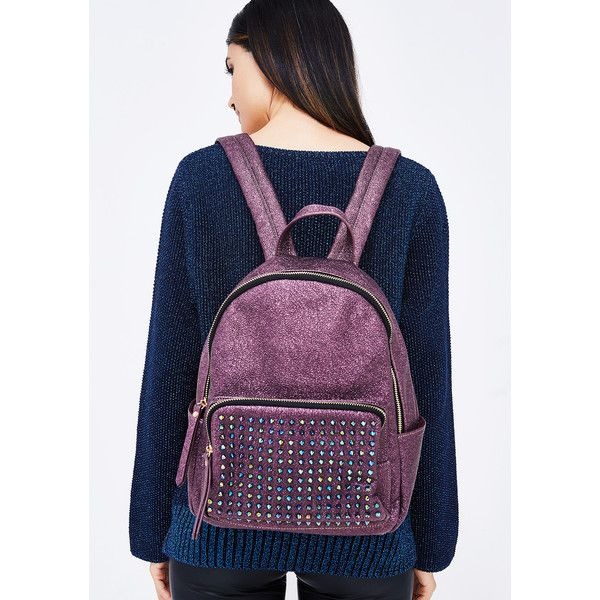 Metallic Studded Backpack ($30) ❤ liked on Polyvore featuring bags, backpacks, purple, planet backpack, day pack backpack, multi colored backpacks, studded backpacks and galaxy bag